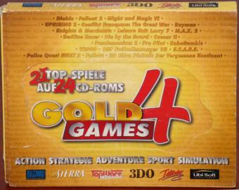 Gold Games 4 inkl. 21 Top-Spiele auf 24 CD-ROMs 3-D Ultra Pinball: The Lost Continent, Caesar II, Conflict: Freespace, Diablo, Die By The Sword, Fallout, Fallout 2, Knights and Merchants CD fehlt, Leisure Suit Larry 7: Yacht nach Liebe!, M.A.X. 2, Might and Magic 6: The Mandate of Heaven, Pandemonium 2, Police Quest: SWAT 2, Pro Pilot Europe, Rayman, Redline Racer, Robo Rumble, S.C.A.R.S., DSF Fußballmanager 1998, Uprising 2: Lead and Destroy, V2000 Blizzard/Sierra/TopWare/3DO/Interplay/Ubi Soft 1999