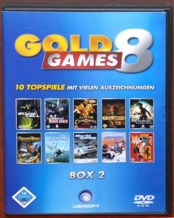 Gold Games 8 DVDs mit 10 Top Spielen Beyond Good & Evil, Biathlon 2004, Fluch der Karibik, Lock On: Modern Air Combat, Lords of EverQuest, Prince of Persia: The Sands of Time, Tom Clancy's Rainbow Six 3: Raven Shield, Tom Clancy's Splinter Cell, XIII, World Racing, Infogrames/Synetic/Ubi Soft 2005