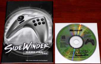 Microsoft SideWinder Game Pad Pro Handbuch & Controller Software-CD 1999