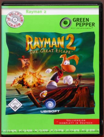 Rayman 2 The Great Escape PC CD-ROM Deutsch Ubisoft/Novitas Green Pepper 1999
