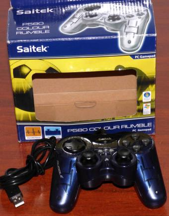 Saitek P580 Colour Rumble USB PC-Gamepad Dual-Analog Art-No. PP23b OVP