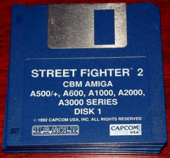 Street Fighter 2 für CBM Amiga, A500+, A600, A1000, A2000, A3000 Series, Capcom 1992