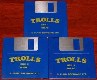 Trolls auf 3 IBM-PC DOS Game Disketten 3.5 Flair Software LTD 1992