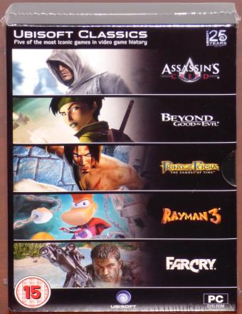 Ubisoft Classics 25 Years Box PC DVDs inkl. Assain's Creed, Beyound Good & Evil, Prince of Persia, Rayman 3, Farcry NEU/OVP 2011
