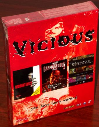 Vicious ..you have been warned 1999 UK - Capcom / Virgin Interactive Ltd. Compilation - Resident Evil 2 - Carmageddon II Carpocalypse Now und Unreal - unzensierte Fassungen 4CDs OVP