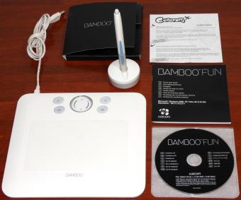 Wacom Bamboo Fun USB Grafik Tablet Model: CTE-450 weiss inkl. Stift & Pen Table Driver 5.05 Treiber-CD