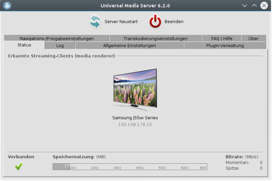 Universal Media Server is a DLNA-compliant UPnP Media Server.